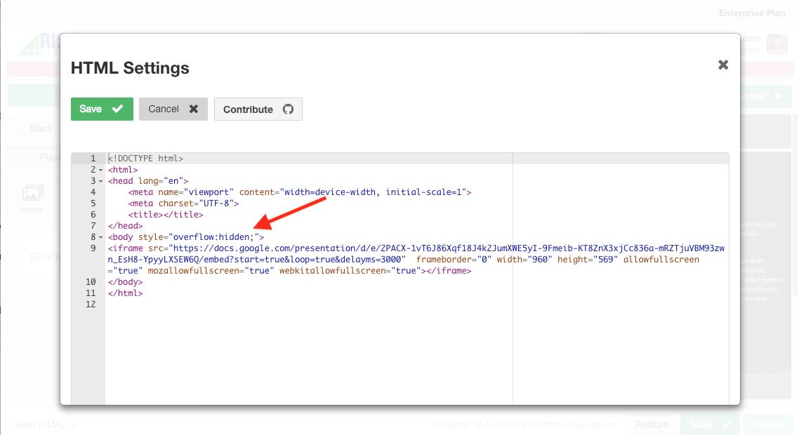 When embedding Google Slides, HTML Widget shows scroll bars