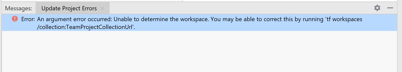 Unable to determine the workspace  - Error after update to