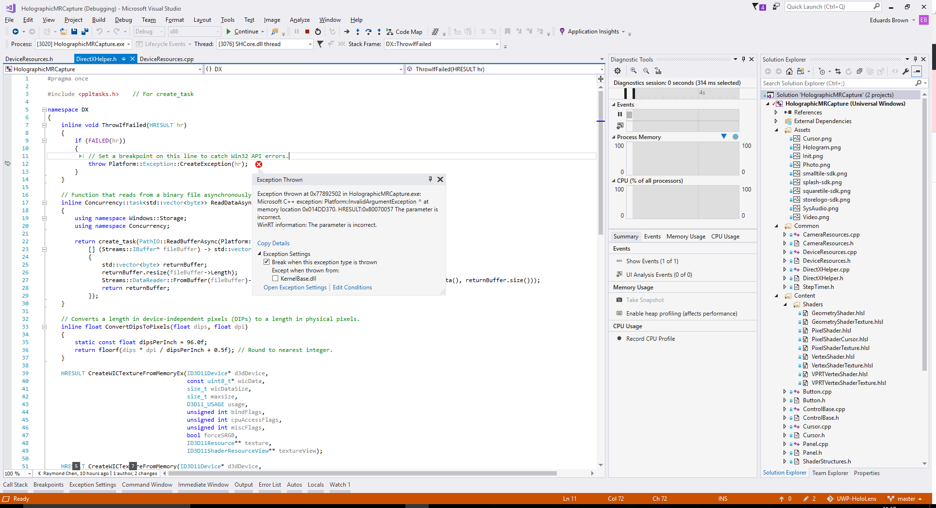 HolographicMRCapture C++ Exception · Issue #765 · microsoft
