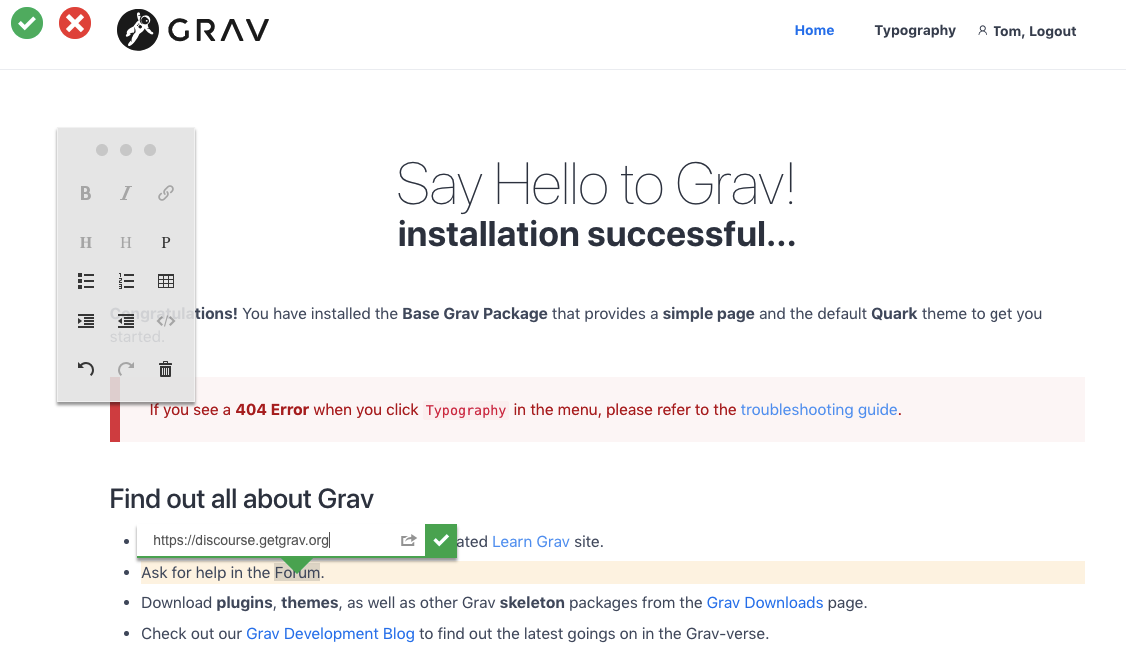 Screenshot of Grav with the ContentTools editor in use