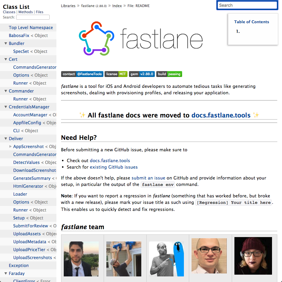 Fastlane docs not available on RubyDoc · Issue #12139