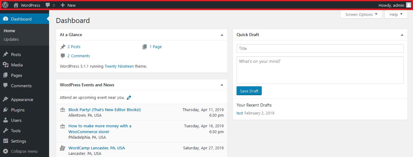 WordPress Dashboard Admin Bar