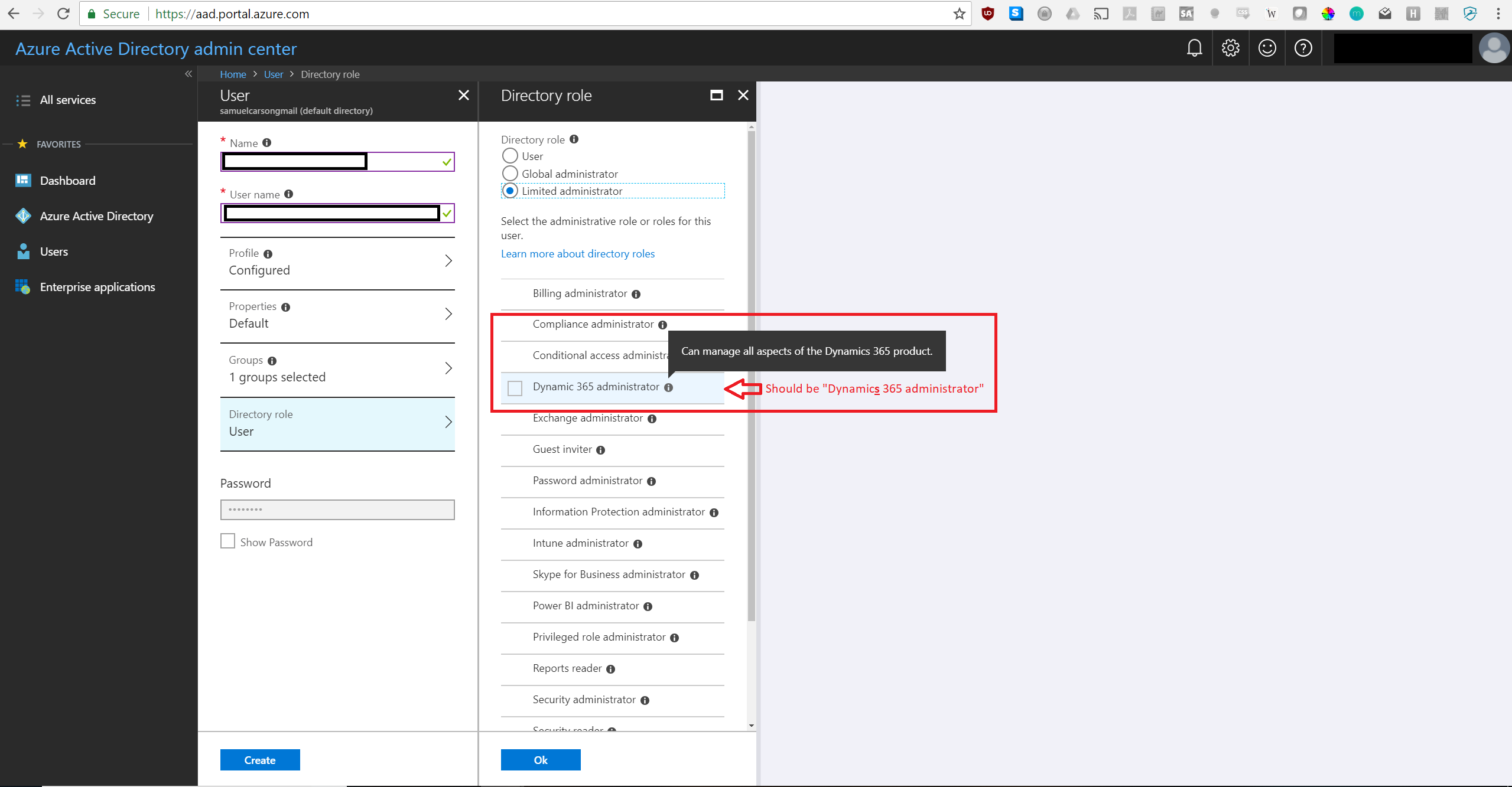 Dynamics 365 administrator role has typo in Azure AD, and