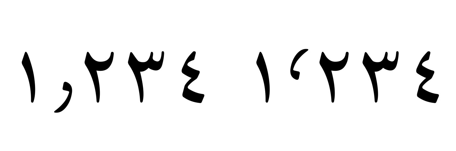 Noto Naskh Arabic / Noto Sans Arabic Arabic decimal and thousands