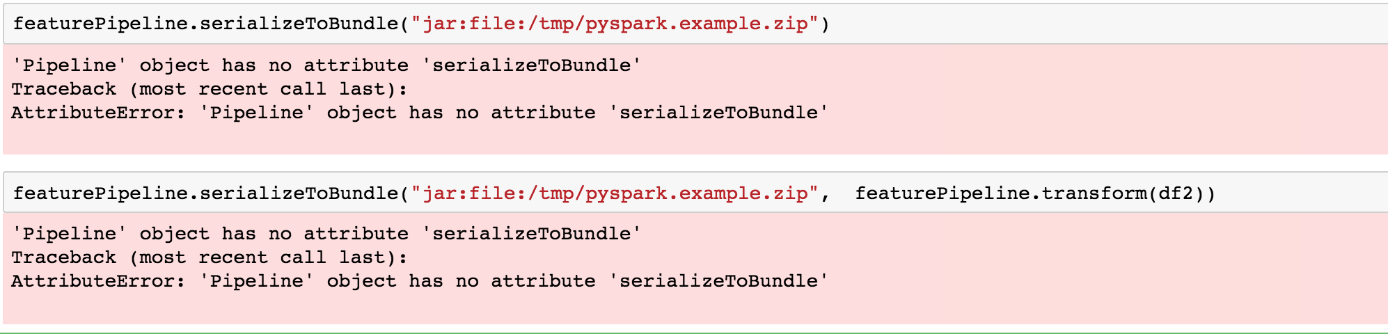 Error using MLeap with PySpark · Issue #343 · combust/mleap · GitHub