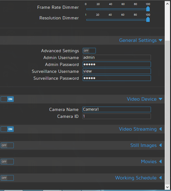 Settings panel missing 'Motion Detection' · Issue #953