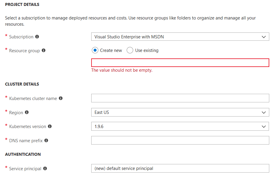 Azure AKS Support - missing basic DNS prefix, virtual network and