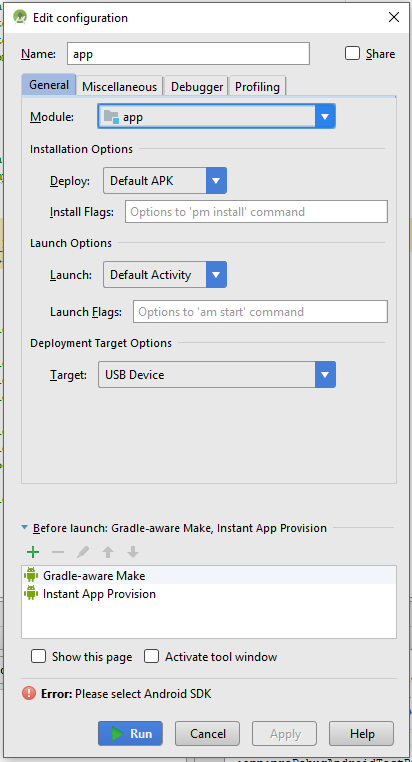 android studio please select android sdk