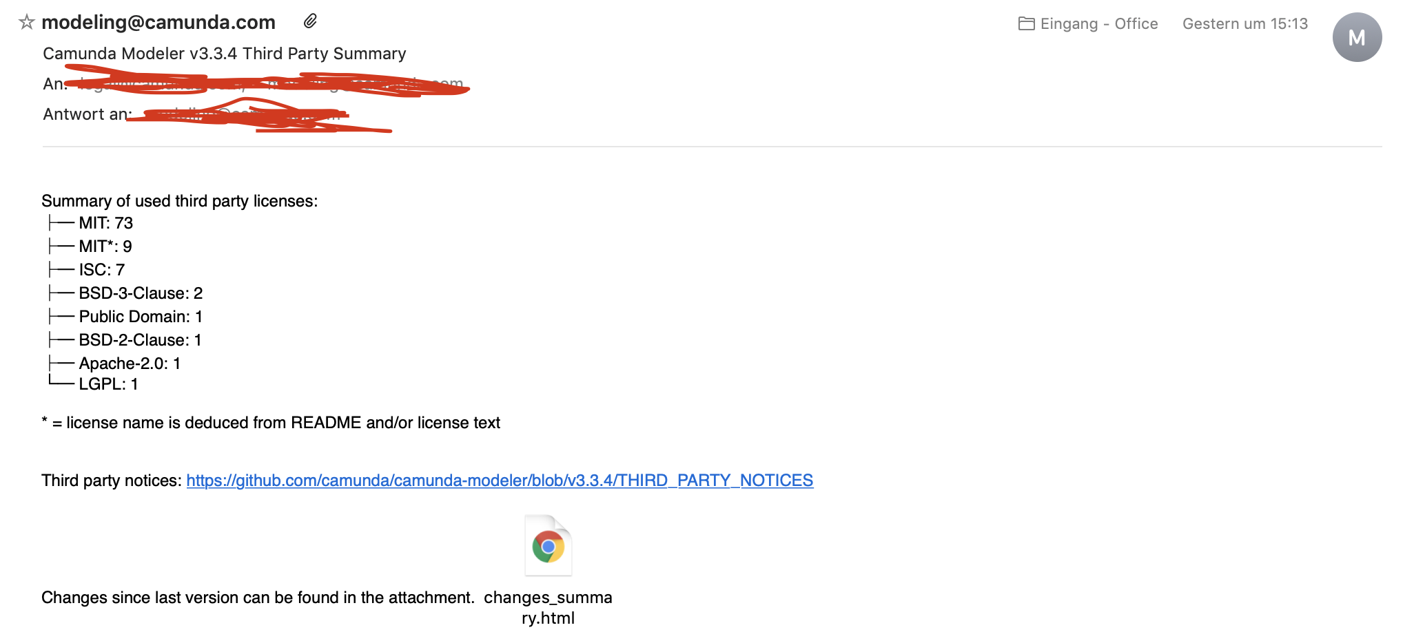 Third Party summary mail has wrong release version · Issue