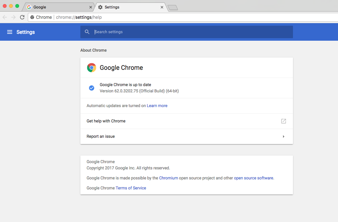 Chrome 62 opens up chrome://settings/help page when an input is
