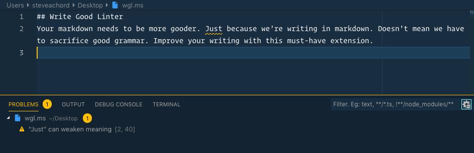write-good-linter vs code extension