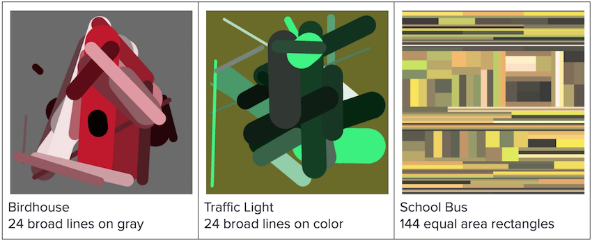 Early images: birdhouse, traffic light, school bus
