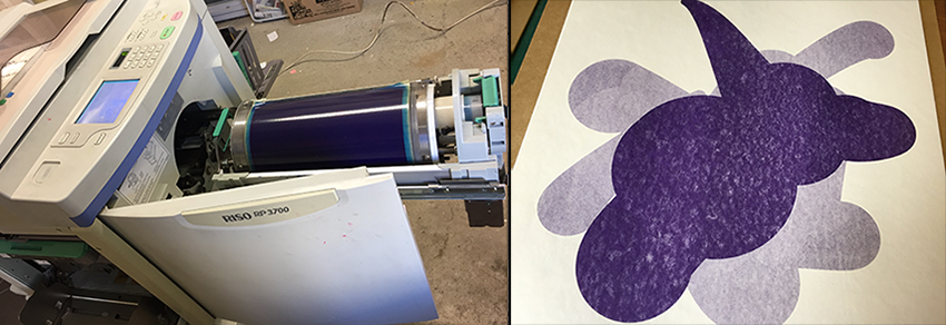 "Left: Loading Purple Ink drum into Riso printer / Right: ""Electric Fan"" print before adding second black layer"