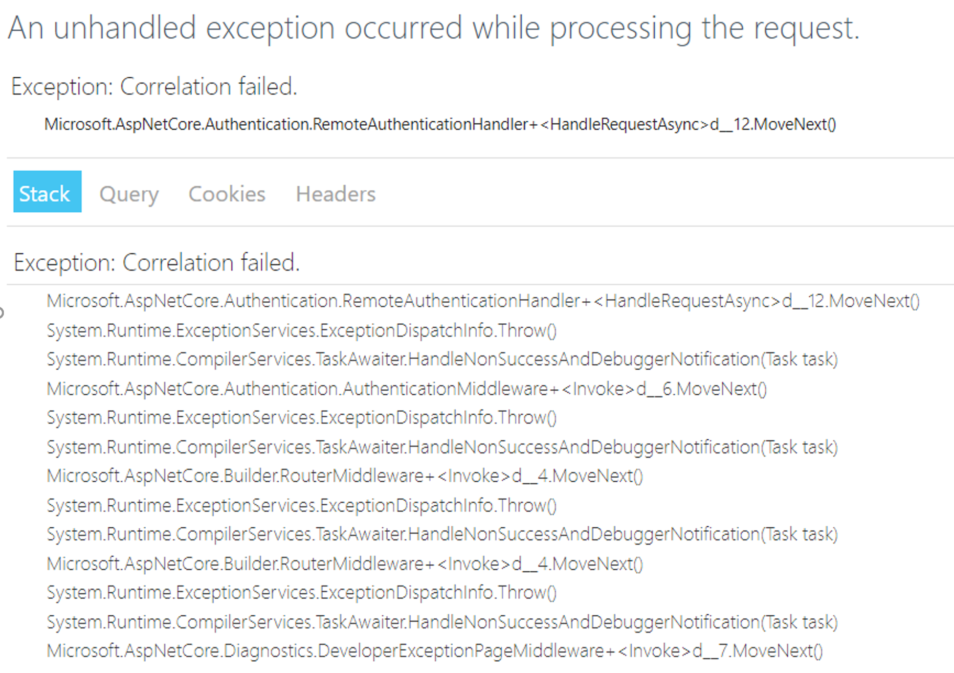 Correlation failed  at Microsoft AspNetCore Authentication