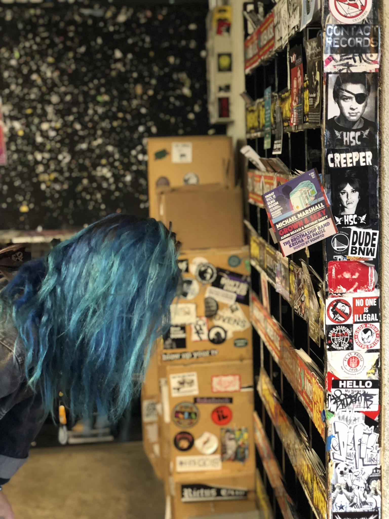 thrashy cool blue hair amoeba shopper