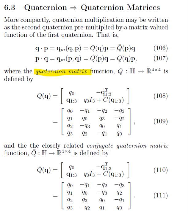 Add Quaternion Matrices and quaternion rates matrices