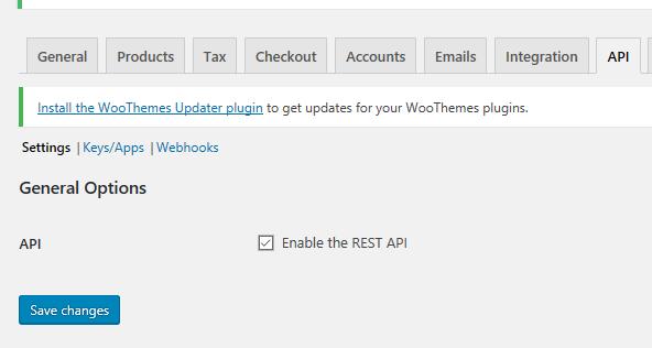 WooCommerce API enabled