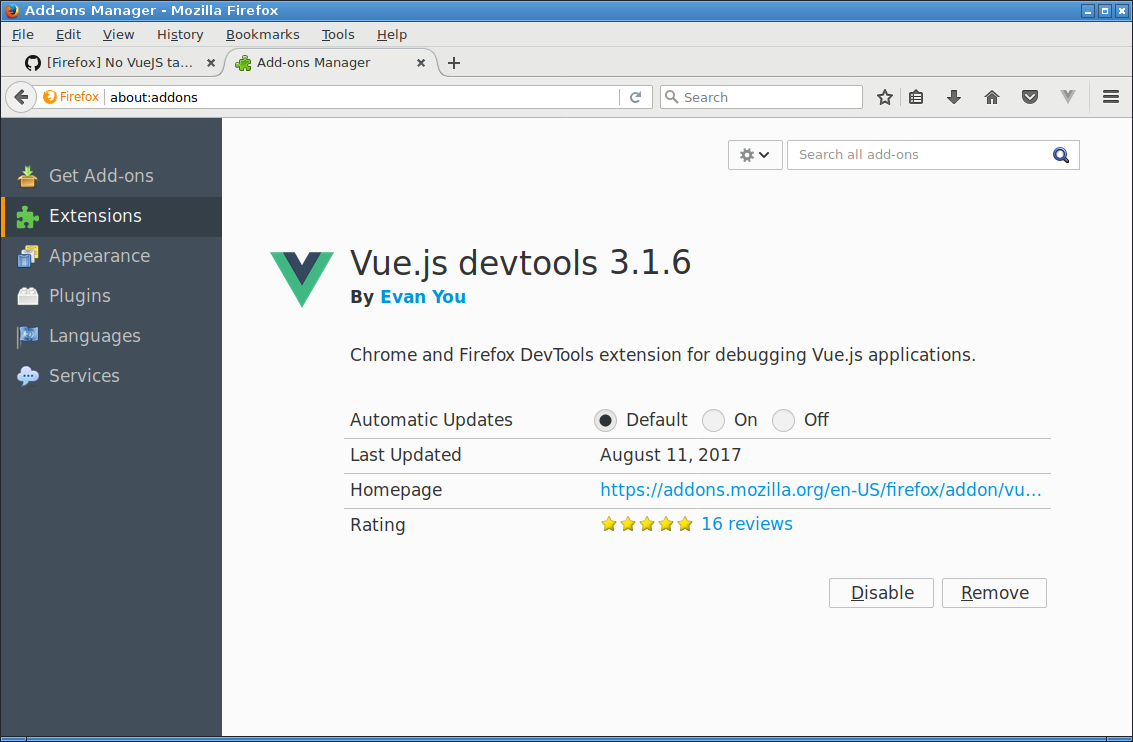Firefox] No VueJS tab in developer tools · Issue #366