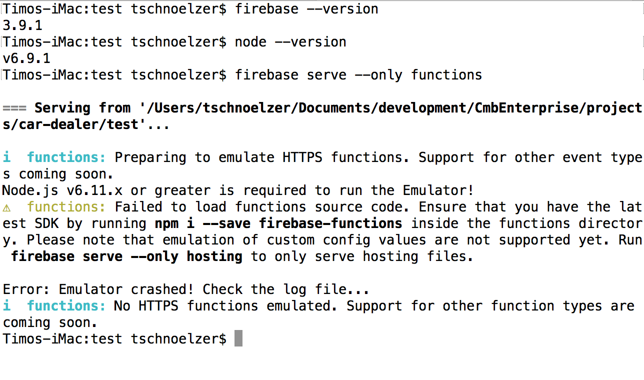 firebase serve --only functions crashes · Issue #410