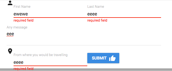 Validation message showing even if the textfields are not