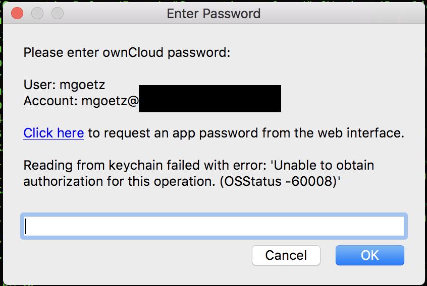mac keychain error message