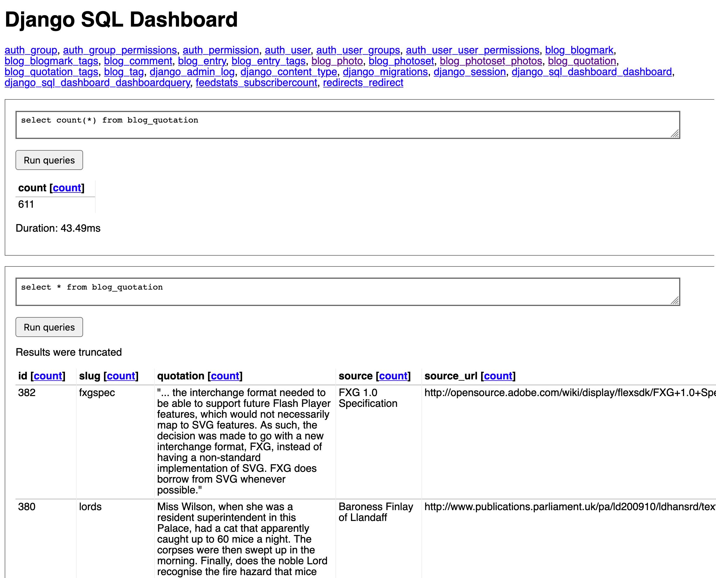 Django_SQL_Dashboard screenshot