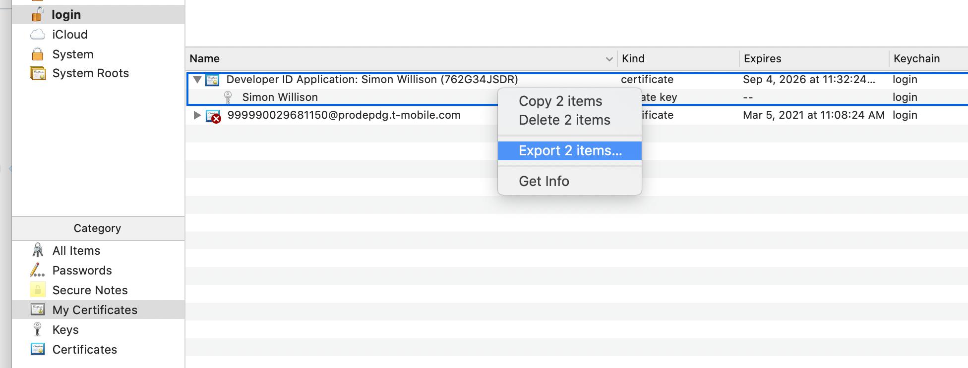 Screenshot of the Keynote export interface