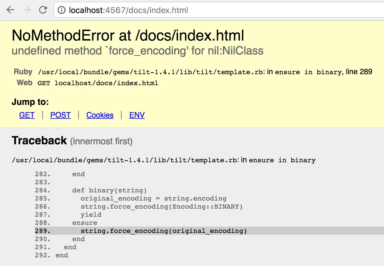 NoMethodError at /docs/index.html undefined method `force_encoding ...