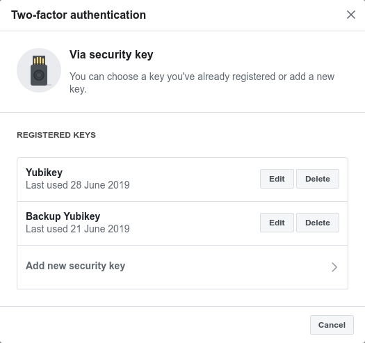 Via security key dialog