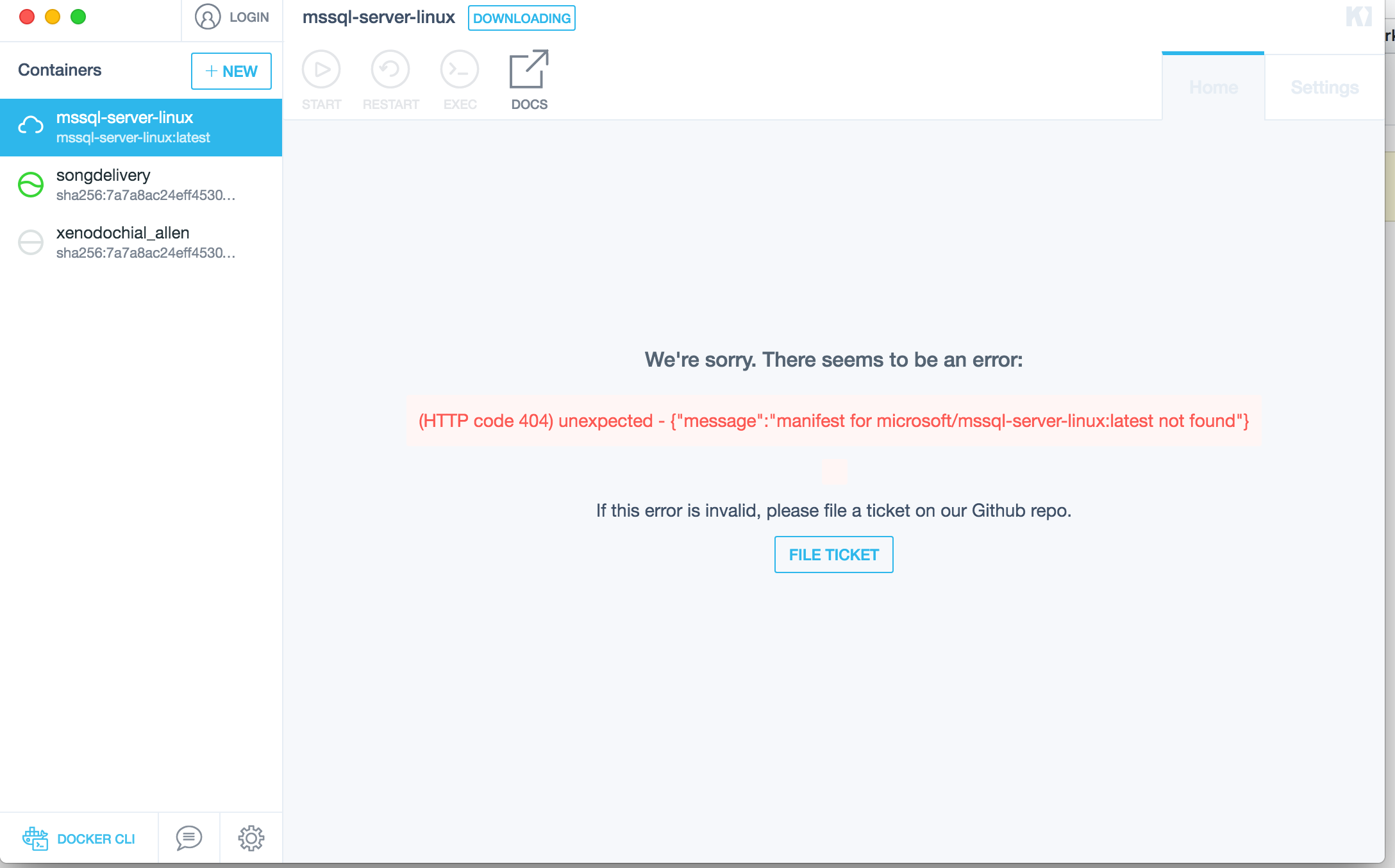 Missing manifest for microsoft/mssql-server-linux image · Issue
