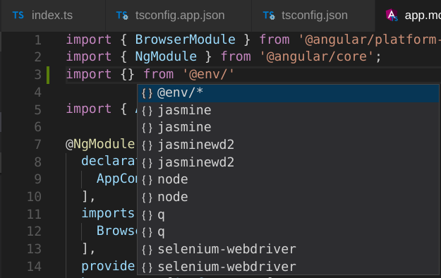 tsconfig paths and module resolution errors in VS Code