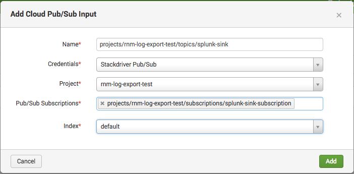 terraform-google-modules/log-export/google | splunk-sink