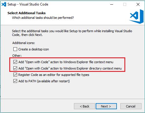 Visual Studio Code Installation Options