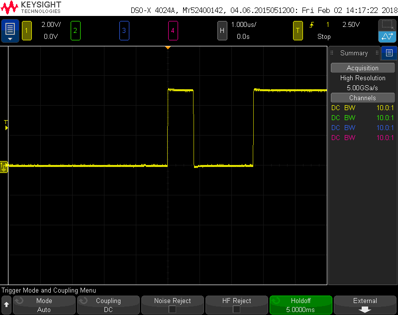 This One Is Done At 1 Us Div And Again The First Pulse Pretty Close To Microsecond Second 2