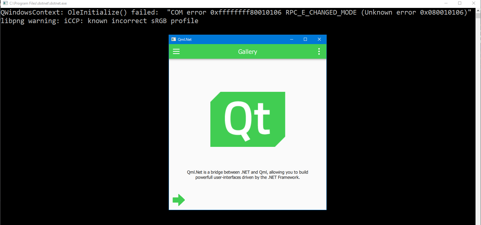 Sample project doesn't work on Windows · Issue #70 · qmlnet