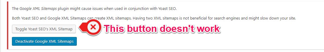 toggle yoast seo s xml sitemap button in notification center does