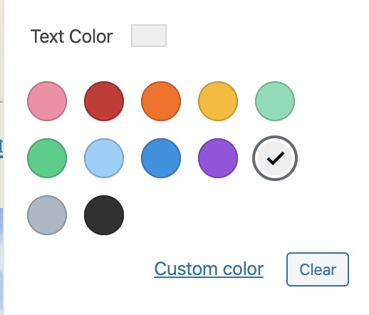 Circular Color Picker - Group of colored circles with a custom color link/button and clear button