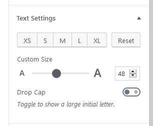 paragrpah custom font size slider limit at 48px