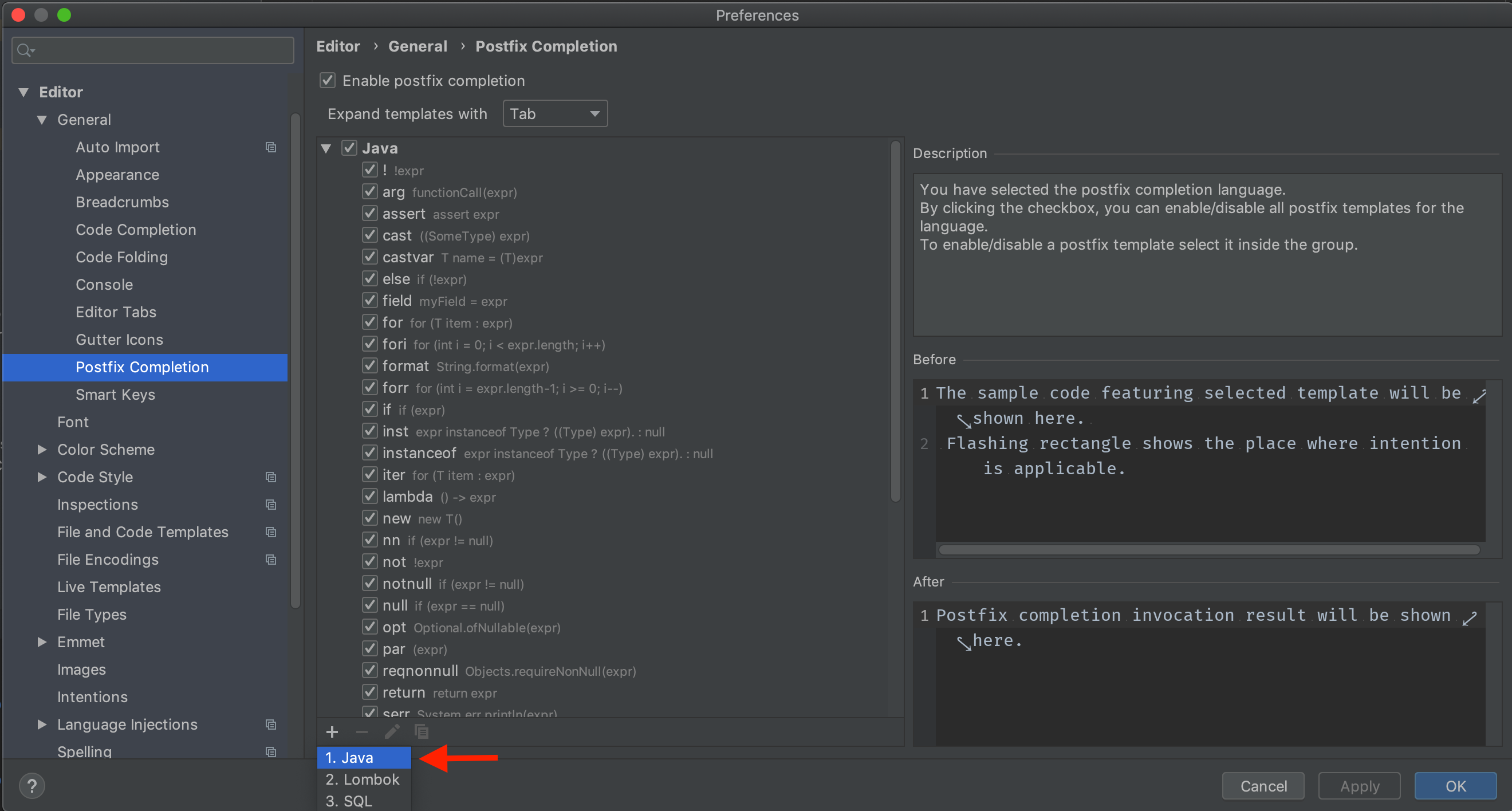 Can't add new 'Java Postfix Completion shortcut' and upon
