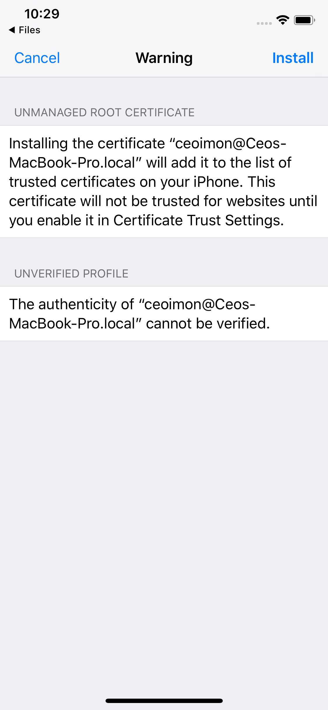 Installed Root Certificate Is Not Listed In Certificate Trust