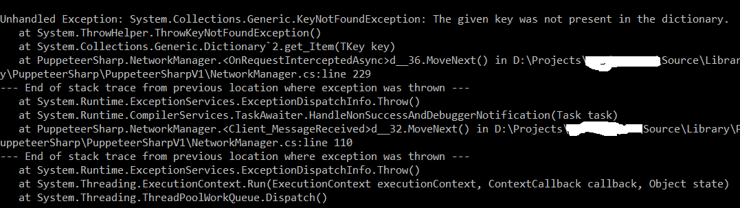 Unhandled Exception: System Collections Generic