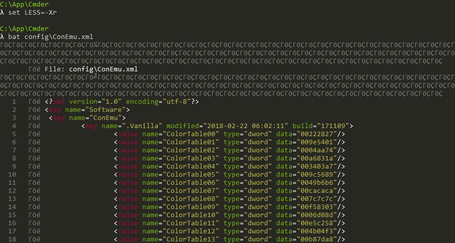 Terminal with correct colouring of text but encoding errors instead of borders in UI