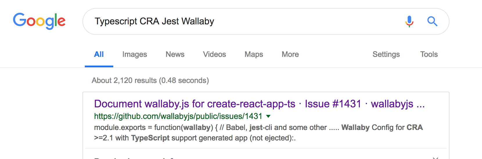 Wallaby with Typescript and Jest from Create-React-App 2