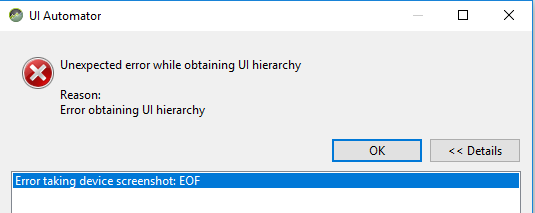 Error in using UIAutomatorviewer for testing Android app