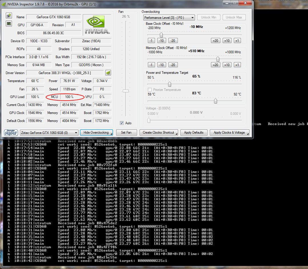 Developers - GTX 1060 6GB - max  Mhs 20 66 -