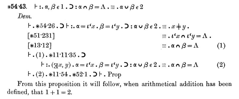An example, very hard-to-read proof from Principia Mathematica
