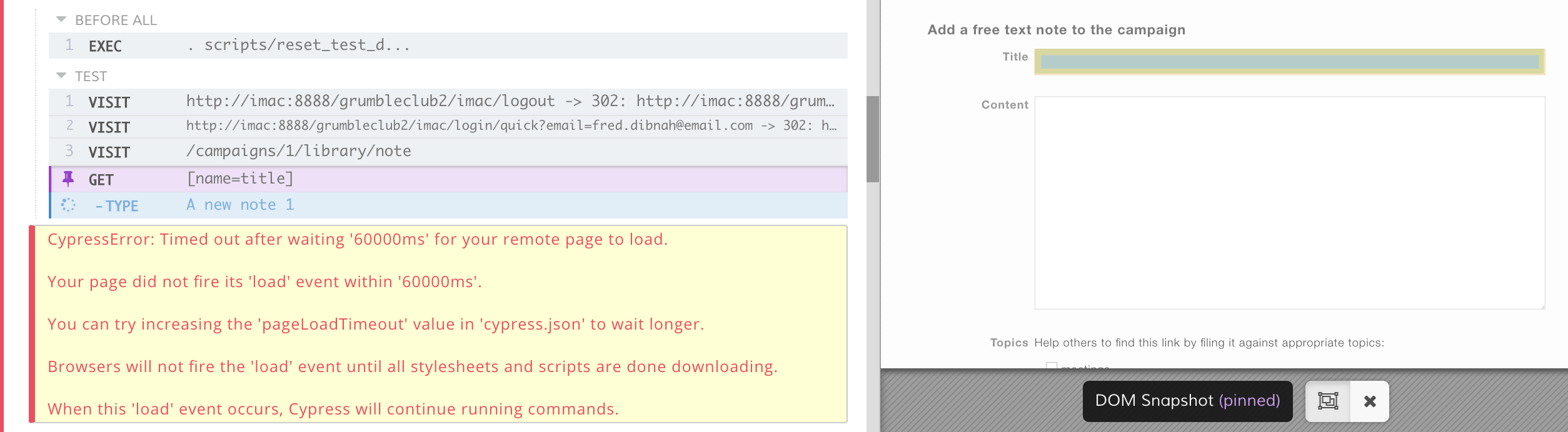 Page occasionally does not load from cy visit() · Issue