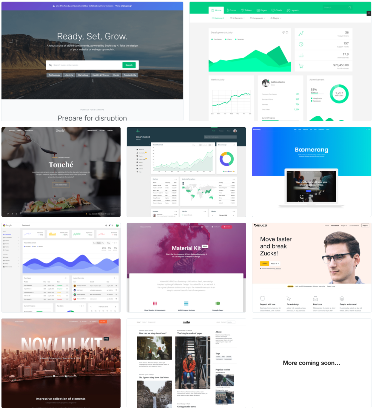 Bootstrap themes grid