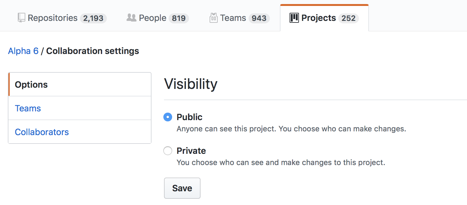 Show your organization's projects to the world by editing the visibility