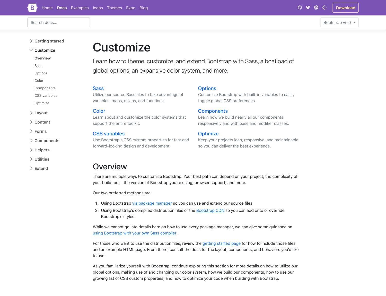 Bootstrap 5 customize docs